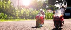 Roadtrip (whitebucketheads) Tags: toys starwars stormtroopers helmet motorbike figurines minifig