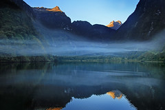 IMG_5382 (MIKADM) Tags: new morning newzealand mist reflection nature water beautiful beauty fog clouds sunrise reflections wonder island dawn early interesting quiet arm earth south low peaceful zealand silence sound southisland serene awe aotearoa doubtful fiordlands