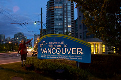 Bienvenue (evaxebra) Tags: canada sign night vancouver ewa evaxebra