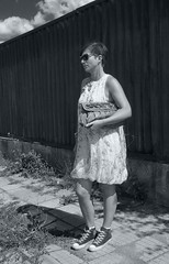 Going to wedding (azhivkov) Tags: fence dress sneakers purse