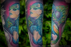 small frame 9x6 roboczy peacock forest lady (Tommicrazy Tattoos) Tags: uk blue woman colour cute sexy green beauty face tattoo lady forest manchester amazing boobs sweet body smooth feathers peacock leafs middleton tomart tommicrazy