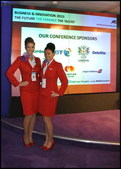 Two stewardesses from Virgin Atlantic, one of the sponsors of our Spring Conference