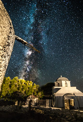 Milky Way rises over Kythnos island (Vagelis Pikoulas) Tags: old longexposure travel summer church windmill night canon way stars landscape star europe view nightscape space july tokina greece galaxy universe milky milkyway 6d kyklades kythnos 1628mm