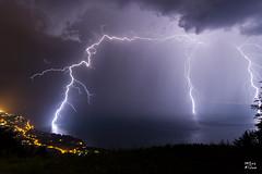 Triple impact de foudre sur le lac Lman (MarKus Fotos) Tags: orage orages foudre tonnerre bolt impact eclair clair clairs thunder thunderstorm thunderstrike suisse switzerland lman leman lac landscape vaud france f4 canon