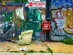 Stop Bed Bugs (street level) Tags: iphoneography shotoniphone williamsburg chair graffiti nyc newyorkcity brooklyn gothamist