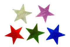 Five Confetti Stars (fingerprints1148) Tags: macromonday five blue green red purple silver stars shiny whitebackground confetti
