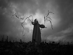 Bloodline (Maren Klemp) Tags: fineartphotography fineartphotographer darkart darkartphotography blackandwhite monochrome selfportrait nature naturallight conceptual bookcover sky clouds surreal dramatic dreamy painterly ethereal vintage evocative expressive dress lines outdoors