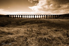 Ribblehead Viaduct Silouette (Forty-9) Tags: silhouette ribbleheadviaductsilhouette structure viaduct forty9 2016 blackandwhite tomoskay bw lightroom efslens canon yorkshire eos60d yorkshiredales lightroommobile efs1022mmf3545usm ribblehead landscape august holiday ribbleheadviaduct