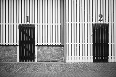 One & Two (toletoletole (www.levold.de/photosphere)) Tags: fuji fujixpro2 xpro2 xf18135mm zieriksee zeeland netherlands niederlande barndoor door tor tren wood holz