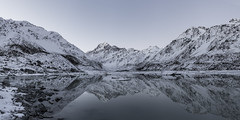 Fresh (soliloquy photography) Tags: panorama hookervalley nz lake reflections mountains winter reflection new zealand snow monochrome peaceful ice glacier desaturated stillness icebergs mount cook aoraki mackenzie hooker valley concordians