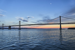 Bay Bridge San Fransisco (AgarwalArun) Tags: sanfrancisco bayareacalifornia iconicbridge pacificocean ocean bridge marincounty scenic views landscape reflections fog marinelayer baybridge sunset moon couds waves