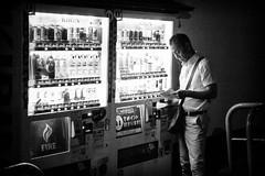 Reading (GavinZ) Tags: asia japan kyoto travel night vendingmachine reading street bw blackandwhite