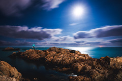 Moonrise over Gijang, South Korea (Todd Danger Farr) Tags: ocean moon southkorea korea landscapes moonrise night longexposure gijang busan