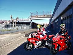 Two racer. (driver Photographer) Tags:   aprilia cagiva honda kawasaki husqvarna ktm simson suzuki yamaha ducati daytona buell motoguzzi triumph bmv driver motorcycle leathers dainese
