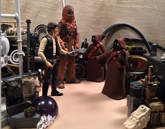 Han and Chewbacca visit the Jawas for parts for the Falcon. (chevy2who) Tags: hasbro series black blackseries figure action toy chewbacca solo han jawa custom wars star