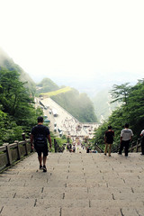 Walking to the Edge (Meeg.E) Tags: hiking stairs travelling summer students backpacking heavens gate tianmen mountain fog clouds landscape view