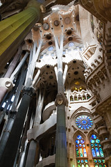 Barcelona (Roger Hanuk) Tags: art artnouveau barcelona cathedral column gaudi religiousbuilding sagradafamlia spain stainedglass window catalonia
