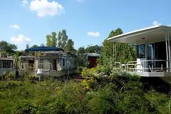 Houseboat graveyard (pburka) Tags: houseboat boat junk scrap abandoned overgrown finney kentucky ky