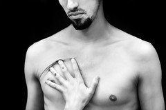 (xanocaa) Tags: boy male man body poetry soul spirit beard mouth lips nose nipple hand skinny bones skin concept conceptual experimental blackandwhite bw pretoebranco black white preto branco grey cinza cinzento female lady gorl tattoos tattoo no expression alexandra fernandes leiria marinha grande caldasdarainha caldas rainha portugal europe europa canon eos 60d young series esad esadcr photography photographers 50mm f14 shadow moustache naked nude light artificial difuse refraction person people portrait