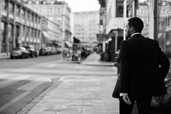 Strut (philipjohnson) Tags: nikon d700 nikkor 50mm f12 ais nikkor50mmf12ais geneva genf geneve genve suisse swiss switzerland svizzera black white street portrait
