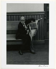 Cambridge City Council, Gentleman Sitting in the Hall Outside the Chambers, 1971 (Cambridge Room at the Cambridge Public Library) Tags: cambridgemass cambridgemasscitycouncil localgovernmentmassachusettscambridge cambridge massachusetts bw blackandwhite olivepierce pierceolive