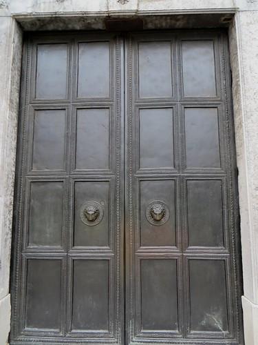 Portes de bronze (800), cathédrale, Aix-la-Chapelle, Rhénanie du Nord-Westphalie, Allemagne.