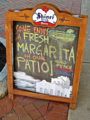 Margaritas, Schenectady, NY (Robby Virus) Tags: schenectady newyork ny state upstate margarita drinks aboard sign signage sidewalk restaurant mexican raspberry coconut tequila chalk peach shiner beer