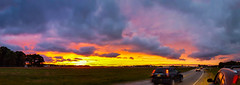 Driving off into the sunset... (tquist24) Tags: elkhart indiana samsung samsunggalaxys6 car cars clouds evening geotagged panorama panoramic road sky sunset vibrant unitedstates
