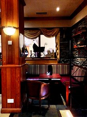 A cosy alcove (JulieK (finally moved to Wexford)) Tags: hbm bench dooleyshotel bar alcove window pram iphone5 2016onephotoeachday waterford seating