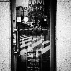 door (s_inagaki) Tags: door glass reflection snap blackandwhite bnw bw street helsinki finland