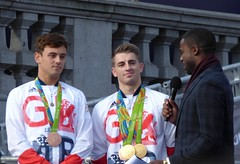 Tom Daley and Max Whitlock with Ore Oduba (Suede Bicycle) Tags: olympics rio rioolympics rio2016 olympicgames heroeswelcome trafalgarsquare summerolympics olympicparade paralympics rioparalympics