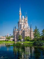 Cinderella Castle (Don Sullivan) Tags: tokyodisneyresort tokyodisneyland cinderellacastle tokyo disneyland disney resort cinderella castle reflection japan moat