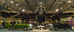 A WWII Avro Lancaster bomber and two Rolls- Royce limousines at the RAF Museum, Hendon (Anguskirk) Tags: uk england london airplanes historic bomber warplane militaria rafmuseumhendon bonhams royalairforce avrolancaster militaty