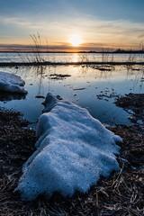 Last Ice (WherezJeff) Tags: blue sunset lake snow ice water spring alberta stalbert biglake