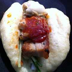 Steamed bun with pork belly and oyster