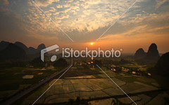 Rice-fields-at-sunset (MPBHAIBO) Tags: china road cloud mountain reflection water fog sunrise landscape dawn spring highway shiny asia village guilin yangshuo hill aerialview growth crop backlit sunbeam cloudscape ricepaddy stormcloud scenics mountainrange vibrantcolor brightlylit urbanscene mountainpeak ruralscene karstformation guangxiregion