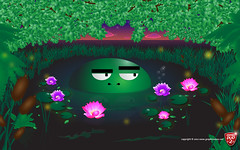 Swayzo The Swamp Creature (GraphicsDuo2) Tags: trees sunset art water cattails adobe jungle swamp illustrator swampthing creature vector nightfall palmtress lotusflower lightningbugs