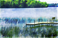 A Time For Relaxation and Reflection (jackaloha2) Tags: lake reflection texture water wisconsin photoshop bench watercolor dock weekend relaxation memorialday watergrass texturedlayers jackaloha2 photoshopcs5