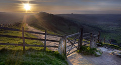 Mam Tor Stile at Sunrise (Wide Crop) (Jonnyfez) Tags: beautiful sunrise scenery derbyshire peakdistrict lensflare stile hdr edale mamtor castleton d300 jonnyfez