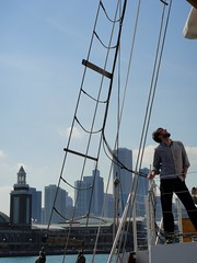 DSC09985 (Kate Hedin) Tags: sky lake chicago water lines skyline boat illinois ship michigan horizon sails windy rope pirate sail tall mast adventures