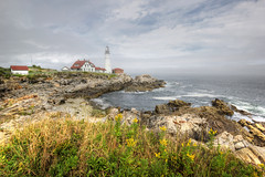 Early Morning Fog at Portland Head Lighthouse II (sminky_pinky100 (In and Out)) Tags: travel sea usa lighthouse tourism landscape maine foggy scenic newengland rocky coastal iconic portlandheadlighthouse omot masterclasselite thenewmasterclass masterclassexhibtion