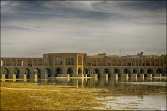 Khaju Bridge (Poria) Tags: bridge khaju iran persia river reflex old arch architecture arc      hdr landscape panorama view