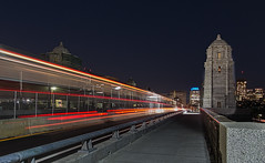 traffic & train (mgstanton) Tags: boston night longfellowbridge mbta traffic train lighttrail cambridge longexposure