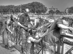 Festival Workers (creepingvinesimages - struggling to keep up!) Tags: hmm monochrome workers people groups railing angers france outdoors festival pse14 photomatix