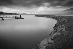 Brunner (d_willing) Tags: lakebrunner westcoast southisland newzealand landscape person dramatic black white btw blackandwhite bw artistic serene magical