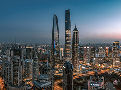 Nightscape of Shanghai City (HIKARU Pan) Tags: 1dx 24l asia canonef24mmf14liiusm china chinese eos1dx jinmaotower longexposure photography shanghai shanghaitower shanghaiworldfinancialcenterswfc wideangle aerialview architecture building city cityscape downtown dusk horizontal landmark landscape night nightscape outdoors skyline skyscraper urban