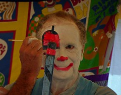 Becoming a Clown (mudder_bbc) Tags: clowns sketchart garythesilentclown rensselaercounty newyork countyfairs schaghticokefair labordayweekend garygirouard people faces