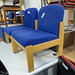 Reception chair beech blue fabric €30