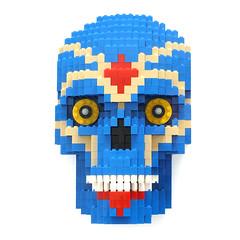 Day of the Dead Blue Skull (daveh_design) Tags: lego legomoc afol skull blue legomodel legosculpture legoartist legocustom brickfan brickartist legobricks
