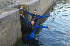 Phoebe and Abbey off the pier at Crovie (favmark1) Tags: crovie scotland 2016 daughters abbey phoebe